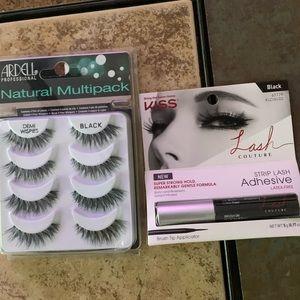 Ardell Black Eyelashes & Kiss brand lash adhesive.